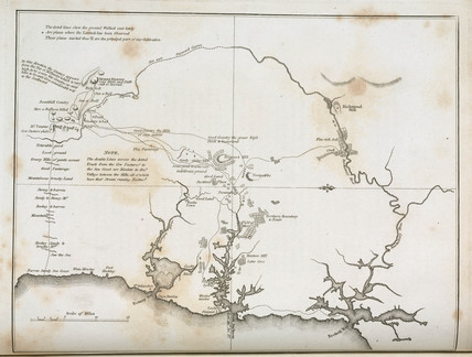 Map of Sydney and surrounding areas, Australia, c 1798.