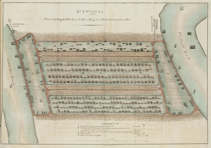Mr S Wyatt's plan of the proposed docks at the Isle of Dogs, London, 1796.