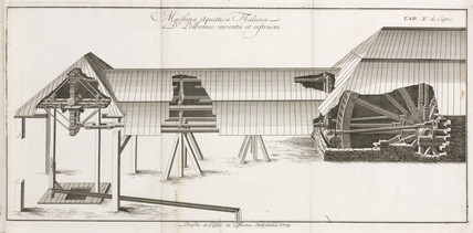 Water-powered mechanism for lifting rock, 1734.