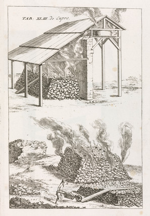 Calcinating heaps of copper ore, 1734.