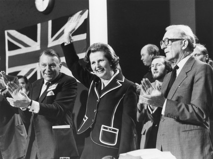 Margaret Thatcher waving at tory party conference, 10 October 1979.