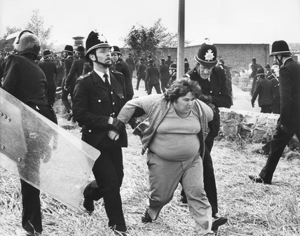 Picket escorted away by police, Orgreave, near Sheffield, 1984.