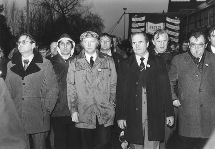 Arthur Scargill at NGA demonstration, Warrington, 14 December 1983.