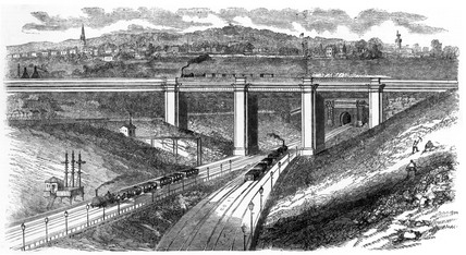 Camden Town railway and viaduct, London, 1851.