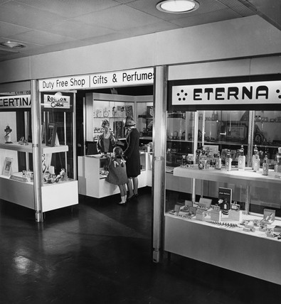 The duty free shop at Manchester Airport, 1965.
