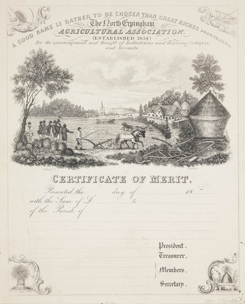 Certificate of merit, North Erpingham, 1834.