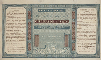 Label for a bottle of chloride of soda, c 1820.