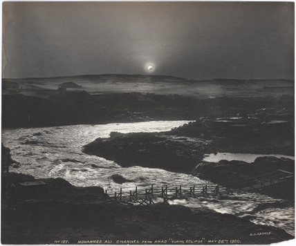 Eclipse of the sun over the old Aswan Dam, Egypt, 28 May, 1900.