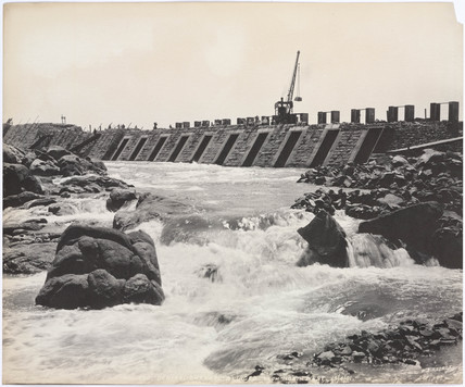 'Central channel sluices from north west', Aswan Dam, Egypt, April 1901.