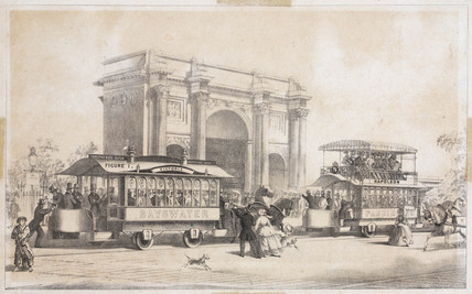 Mr Train's tramway, between Marble Arch and Notting Hill Gate, London, 1861.