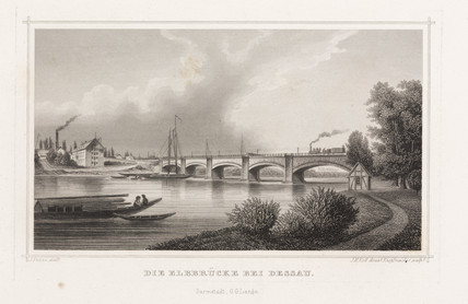 Railway bridge over the Elbe at Desau, Germany, c 1840.