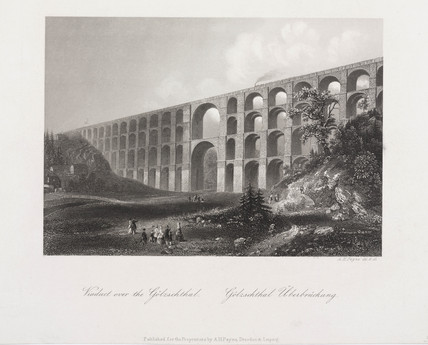'Viaduct over the Golzschthal', Saxony, Germany, c 1840.