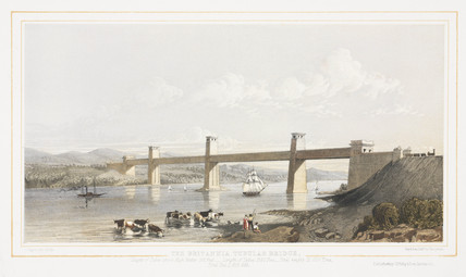 'The Britannia Tubular Bridge', Menai Straits, Wales, c 1860.