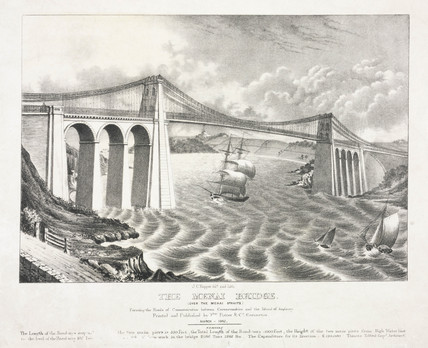 'The Menai Bridge', Wales, 1842.
