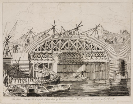 Building the New London Bridge, 7 July 1827.
