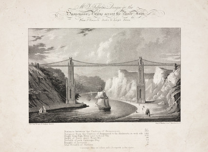 'Mr Telford's Design for a Bridge acros the River Avon' Clifton, Bristol, 1829.