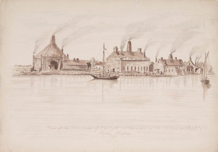 View of glasworks acros a river, 1836.