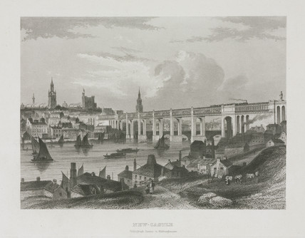 View of Newcastle from acros the River Tyne, 1840-1860.