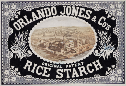 Handbill for Orlando Jones & Co, manufacturers of rice starch, c 1865.