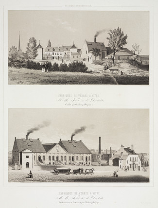 Two glas factories, Belgium, c 1830-1860.