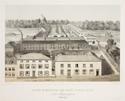 Railway construction workshops of the Brison brothers, Belgium, 1830-1860.