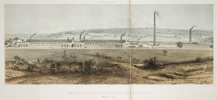 Plate glas factory and chemical works, Floreffe, Belgium, 1830-1860.