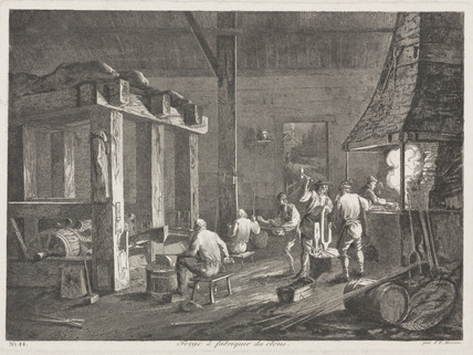 A forge for making nails, France, c 1800.