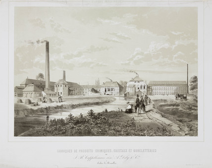 Glasworks and chemical works, Belgium, 19th century.