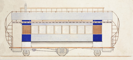 Design for a tramway car, 1870-1875