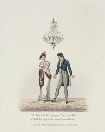 Courting couple under a gas chandelier, 1821.