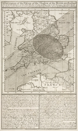 Halley's map and description of the eclipse, 11 May 1724.