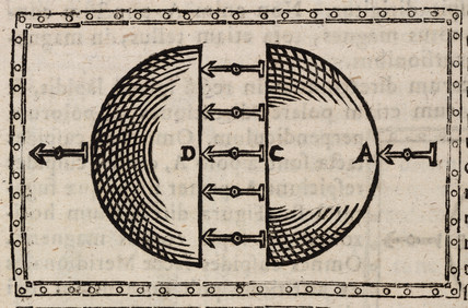 Direction of magnetic attraction in a terrella cut in half, 1628.