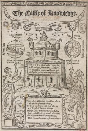 Engraved title page for 'The castle of Knowledge', 1556.