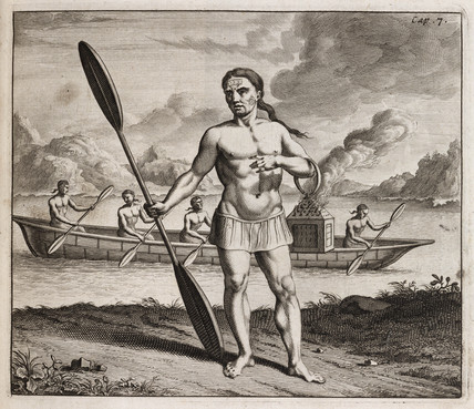 Indigenous man holding a paddle and brazier, c 1700.
