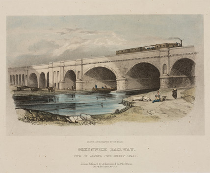 'Greenwich Railway. View of arches over Surrey Canal', c 1850.