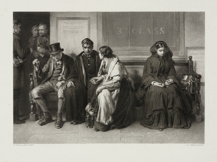 Pasengers waiting at a railway station, 1873.