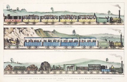 'Sketches of carriages of the Liverpool and Manchester Railway', c 1831.
