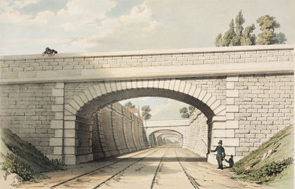 A series of railway bridges, 19th century.