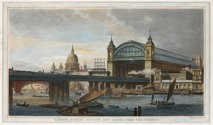 Cannon St Station and Bridge from the Thames, London, 19th century.