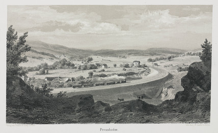 A view of the Empres Elisabeth train travelling through Presbaum, 1800s.