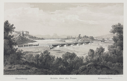A view of the Empres Elisabeth train travelling over the River Traun, 1800s.