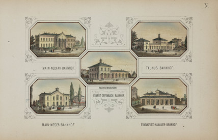Railway stations in Frankfurt and Offenbach, Germany, 19th century.