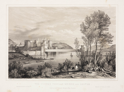'Conway tubular bridge and castle', 19th century.