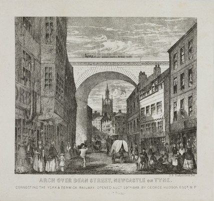 Arch over Dean Street, Newcastle on Tyne, c 1848.