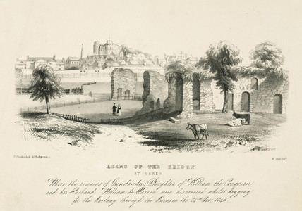 'Ruins of the Priory at Lewes', East Susex, 1845.