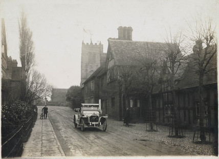 Motor car at Great Budworth, Cheshire, c 1912.