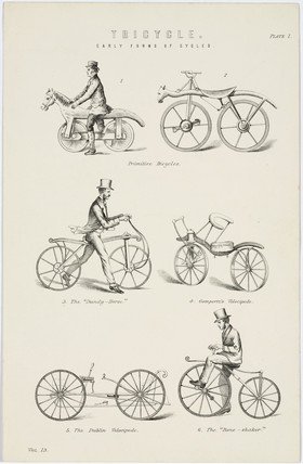 Six early forms of bicycle, 19th century.