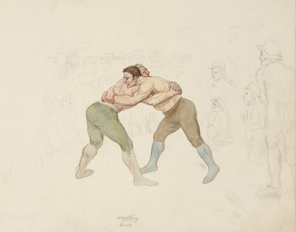 Wrestling match, Northumberland, c 1805-1820.