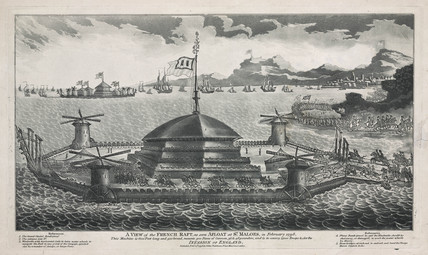 'A view of the French raft, as seen afloat at St. Maloes', 1798.
