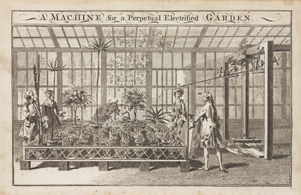 'A Machine for a Perpetual Electrified Garden', c 1770s.